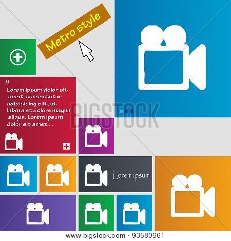 Camcorder Icon Sign. Buttons. Modern Interface Website Buttons With Cursor Pointer. Vector