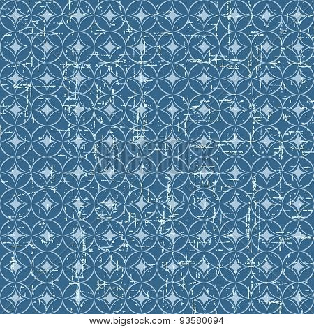 Seamless vintage blue Japanese style round pattern background.