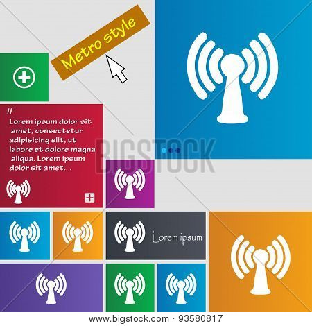 Wi-fi, Internet Icon Sign. Buttons. Modern Interface Website Buttons With Cursor Pointer. Vector