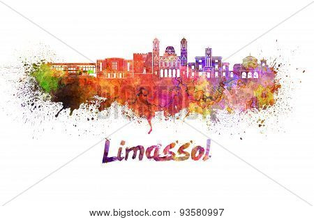 Limassol Skyline In Watercolor