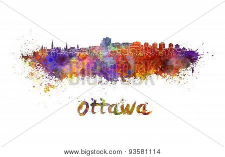 Ottawa Skyline In Watercolor