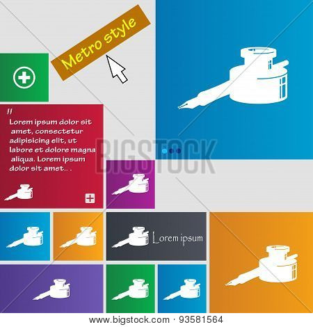Pen And Ink Icon Sign. Buttons. Modern Interface Website Buttons With Cursor Pointer. Vector