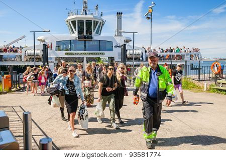 Tourists Descend From The Suomenlinna Ii Ship