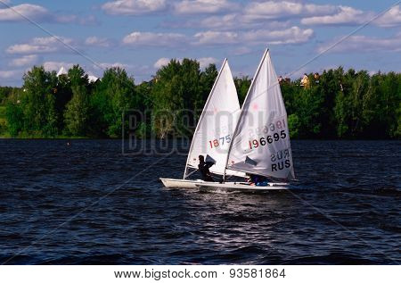 Sailboats taking part in a Regatta