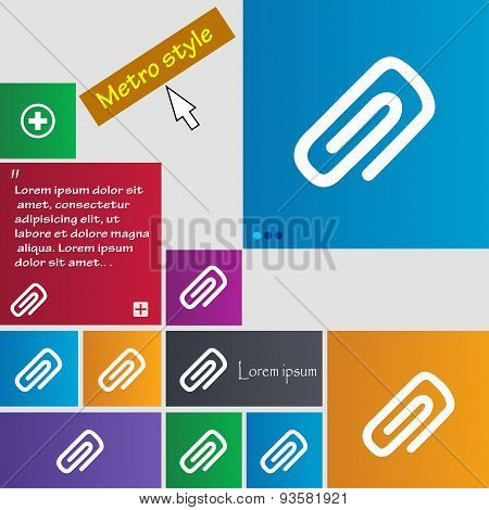 Clip To Paper Icon Sign. Buttons. Modern Interface Website Buttons With Cursor Pointer. Vector