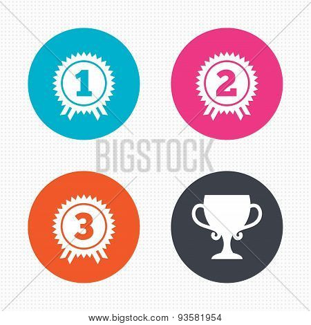 First, second and third place icons. Award medal