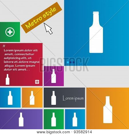 Bottle Icon Sign. Buttons. Modern Interface Website Buttons With Cursor Pointer. Vector
