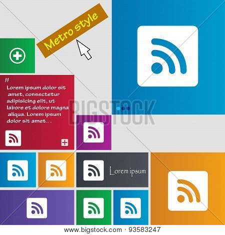 Rss Feed  Icon Sign. Buttons. Modern Interface Website Buttons With Cursor Pointer. Vector