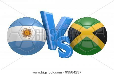 Football competition, national teams Argentina vs Jamaica