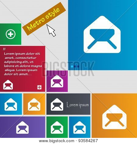 Mail, Envelope, Letter Icon Sign. Buttons. Modern Interface Website Buttons With Cursor Pointer. Vec