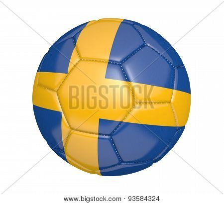 Soccer ball, or football, with the country flag of Sweden