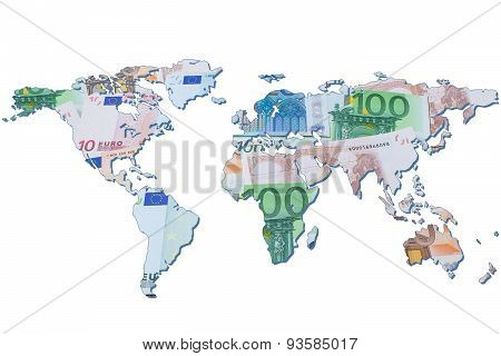 The World Map Made With Euro Bills. Isolated On White Background