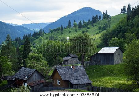 Rural View Of A Small Mountain Community