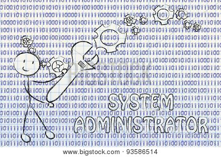 Man With Wrench Setting Up Binary Code, System Administrator Jobs