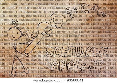 Man With Wrench Setting Up Binary Code, Software Analyst Jobs