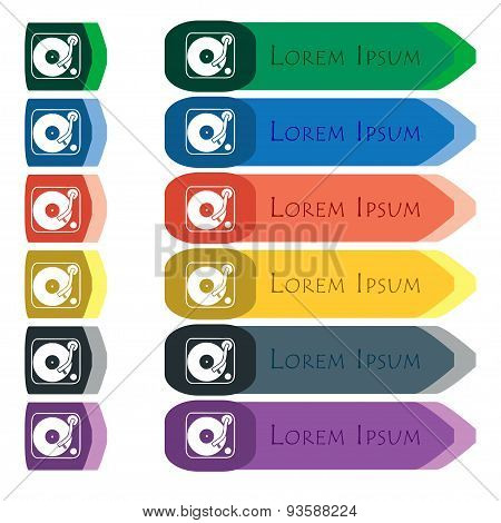 Gramophone, Vinyl Icon Sign. Set Of Colorful, Bright Long Buttons With Additional Small Modules. Fla