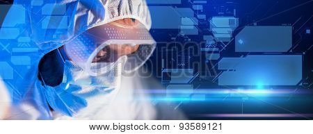 science, chemistry, future technology, medicine and people concept - close up of scientist face in goggles and protective mask at scientific laboratory over virtual screens formula