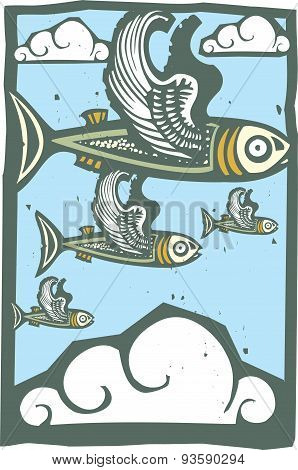 Flock Of Flying Fish
