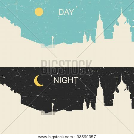 View of the heritage Russian city day and night