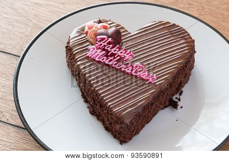 Mother's Day Heart Shaped Chocolate Cake