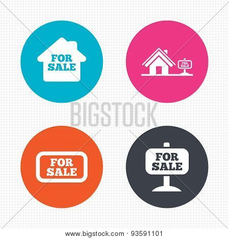 For sale icons. Real estate selling.