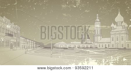 Card with image of the Russian city.