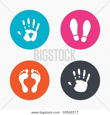 Hand and foot print icons. Imprint shoes symbol.
