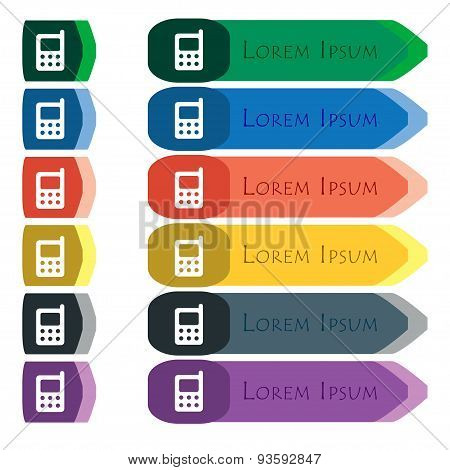 Mobile Phone Icon Sign. Set Of Colorful, Bright Long Buttons With Additional Small Modules. Flat Des