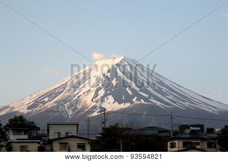 Mount Fuji And The Japanese Village.