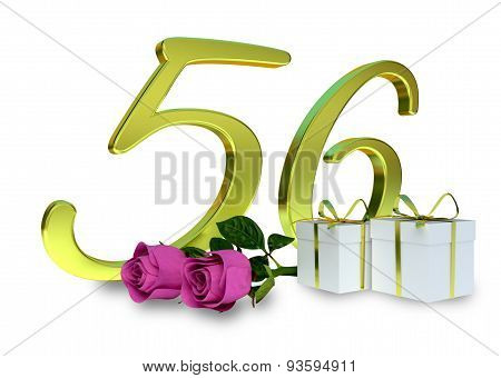 fifty-first birthday concept with pink roses - 56th