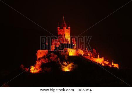 Illuminated Castle Cochem By Night, Germany