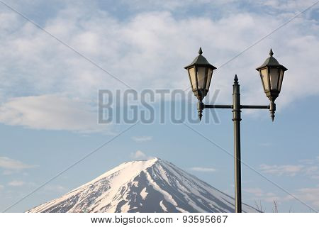 Mount Fuji And Green Lantern Park.