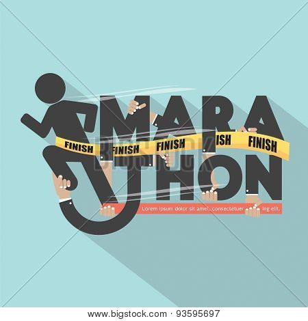 Runner With Marathon Typography Design.
