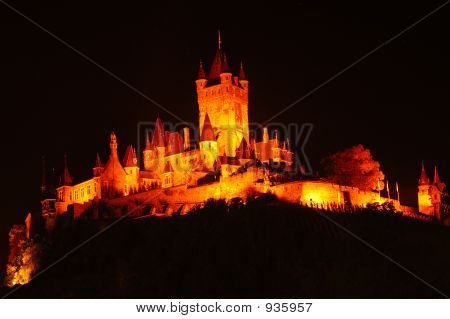 Illuminated Castle Cochem By Night, Germany