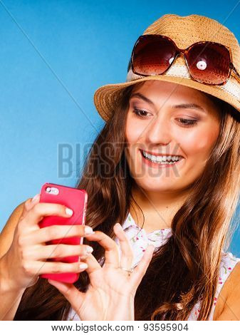 Woman Using Mobile Phone Reading Sms Or Texting