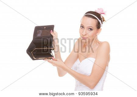 Woman Bride With Empty Wallet. Wedding Expenses.