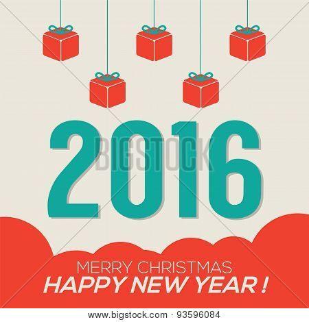 Colorful 2016 New Year Card.