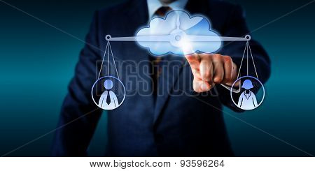 Manager Equating Female And Male Worker Via Cloud