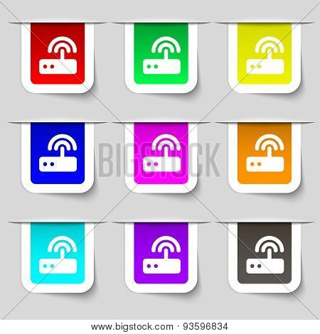 Wi Fi Router Icon Sign. Set Of Multicolored Modern Labels For Your Design. Vector
