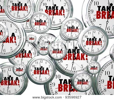 Take a Break words on 3d clocks flying by to illustrate stopping or pausing work or studies to rest, relax and play
