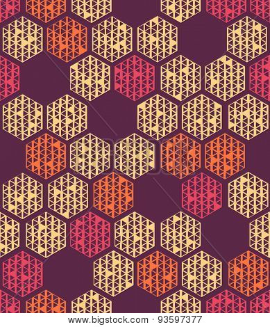 Seamless Hexagon Pattern. Vector Cellular Background