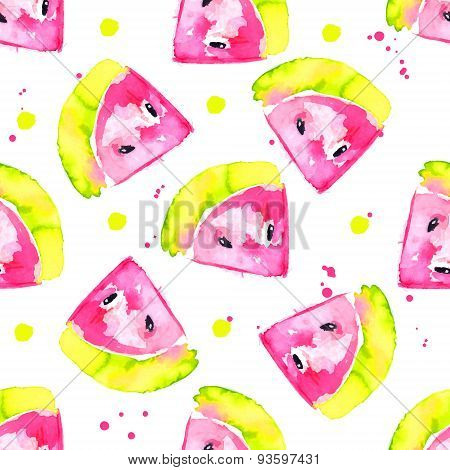 Fresh watercolor seamless pattern with hand drawn pink watermelons. Vector background.