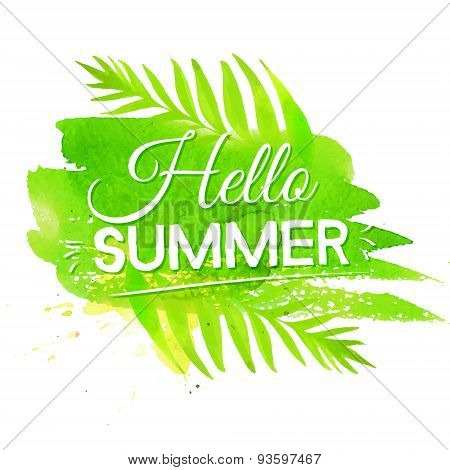 Hello summer banner on green watercolor paint stroke background. Vector design