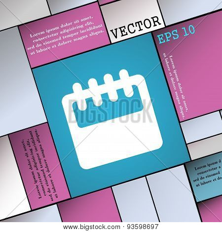 Notepad, Calendar Icon Sign. Modern Flat Style For Your Design. Vector