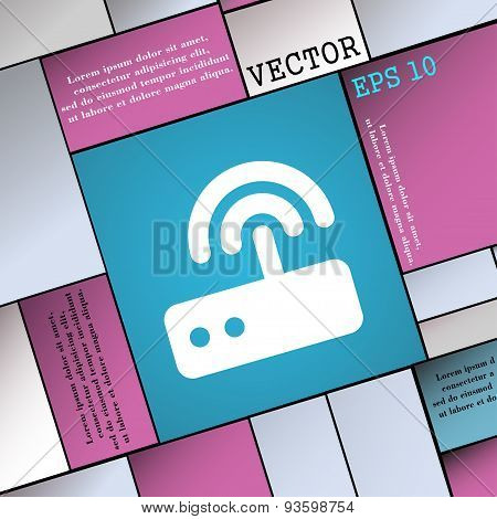 Wi Fi Router Icon Sign. Modern Flat Style For Your Design. Vector