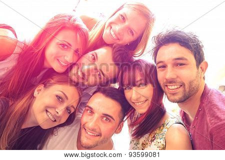 Best Friends Taking Selfie Outdoors With Backlight Contrast - Happy People Friendship Concept