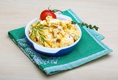 pic of scrambled eggs  - Scrambled eggs with tomato dill and black olive - JPG