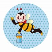 stock photo of bee cartoon  - Bee Cartoon Theme Elements - JPG