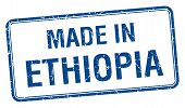 stock photo of ethiopia  - made in Ethiopia blue square isolated stamp - JPG