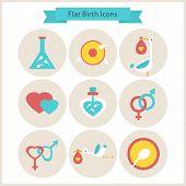stock photo of fertilizer  - Flat Birth and Fertility Icons Set - JPG